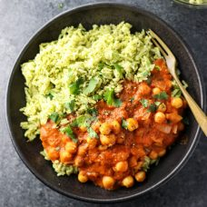 Cauliflower Tikka Masala with Garbanzo Beans with Turmeric Cinnamon Rice