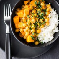Sweet potato chickpea curry with a basmati cauliflower rice