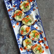 Asparagus and Carrot Sriracha Tofu Sushi