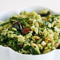 Orzo Pesto Pasta Salad with Olives and Tomatoes