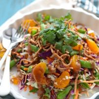 Crispy Wonton Salad with Mandarin Oranges, Edamame with a sesame and spicy mustard dressing