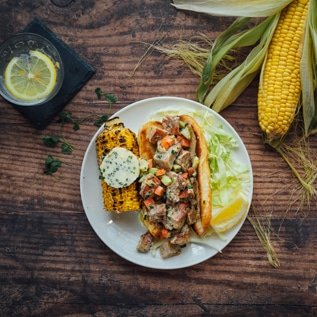 Vegan Lobster Mushroom Roll with Grilled Corn