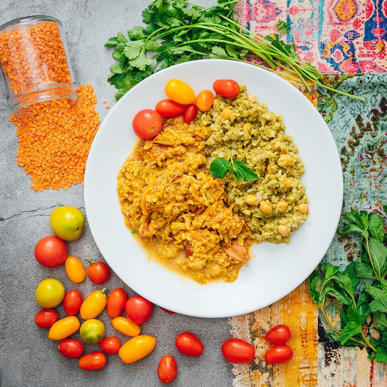 Vegan Red Lentil Dal Curry with Basmati Rice